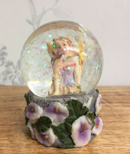 Small Flower Fairy Glitter Waterball Snow Globe ~ Lilac